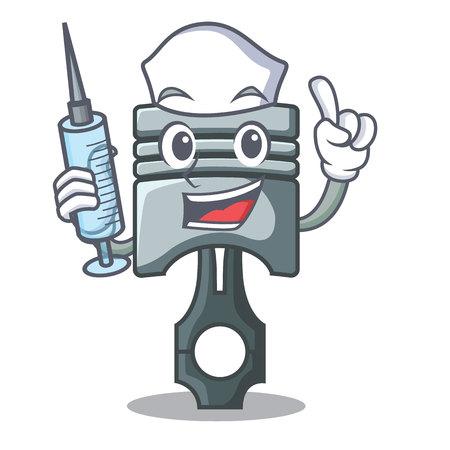 Nurse piston character in a the box vector illustration