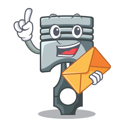 With envelope piston character in a the box vector illustration