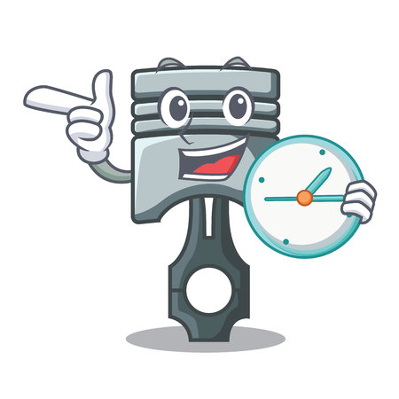 With clock piston character in a the box vector illustration