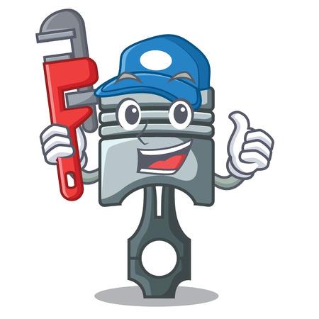 Plumber miniature piston in the cartoon shape vector illustration