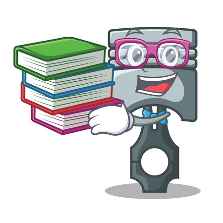 Student with book miniature piston in the cartoon shape vector illustration Фото со стока - 124886907