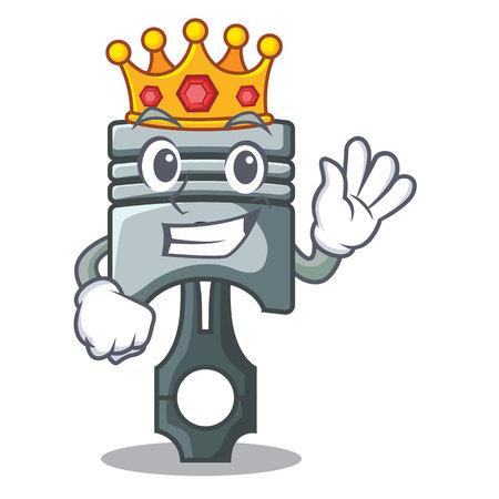 King miniature piston in the cartoon shape vector illustration
