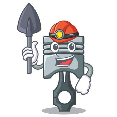 Miner piston isolated in the cartoon shape