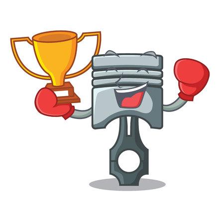 Boxing winner miniature piston in the cartoon shape vector illustration Иллюстрация