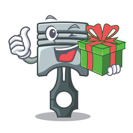 With gift piston isolated in the cartoon shape vector ilustration Фото со стока - 124886943