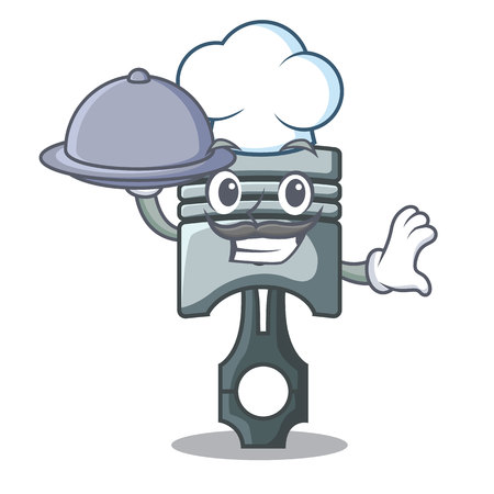 Chef with food piston isolated in the cartoon shape vector ilustration Фото со стока - 124886944