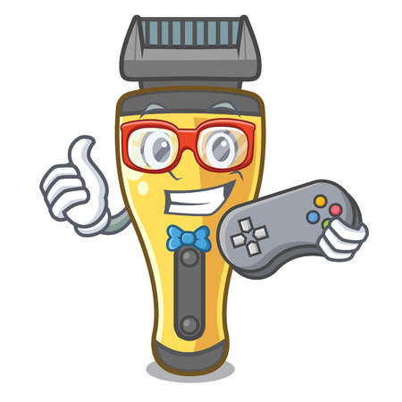 Gamer electric shaver isolated with in mascot vector illustration