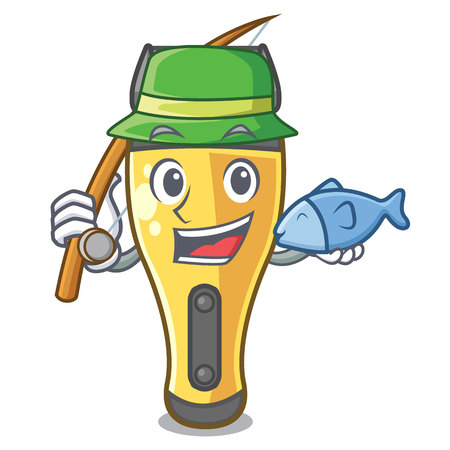 Fishing electric shaver isolated with in mascot vector illustration