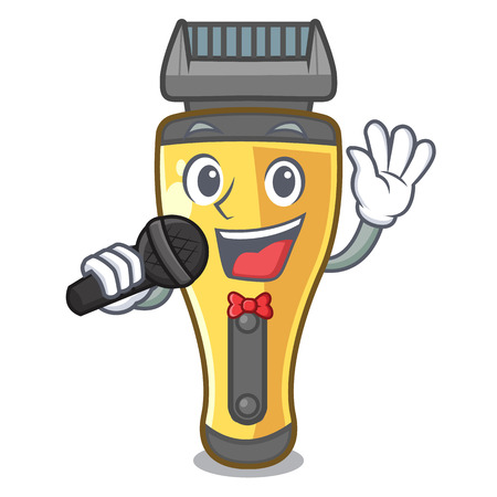 Singing electric shaver isolated with in mascot vector illustration