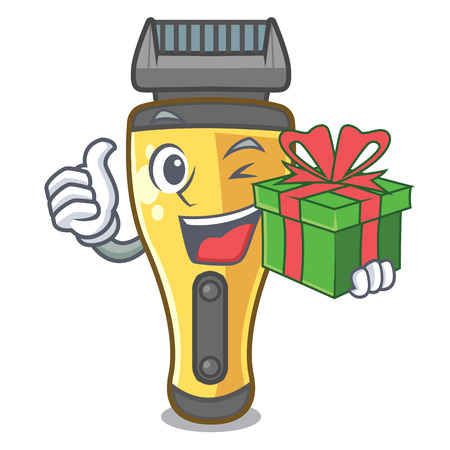 With gift electric shaver isolated with in mascot vector illustration Иллюстрация