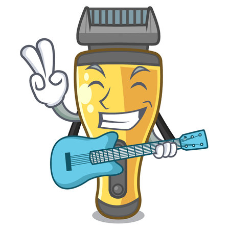 With guitar electric shaver isolated with in mascot vector illustration Illustration