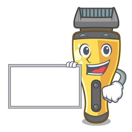 With board electric shaver in the a character vector illustration