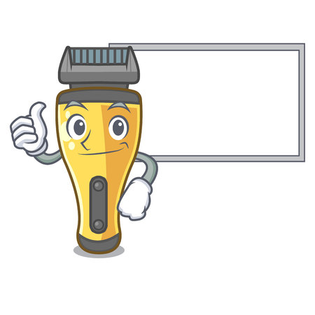Thumbs up with board electric shaver in the a character vector illustration