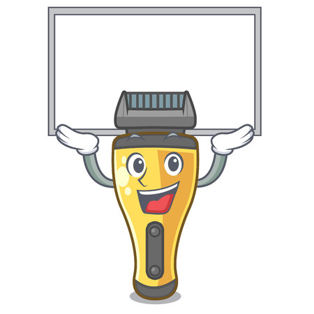 Up board electric shaver in the a character vector illustration