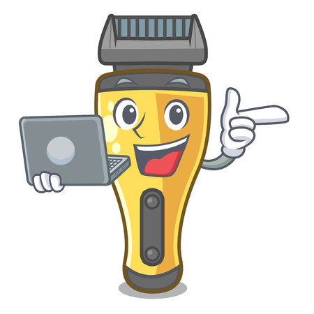 With laptop electric shaver in the a character vector illustration