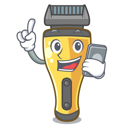 With phone electric shaver in the a character vector illustration