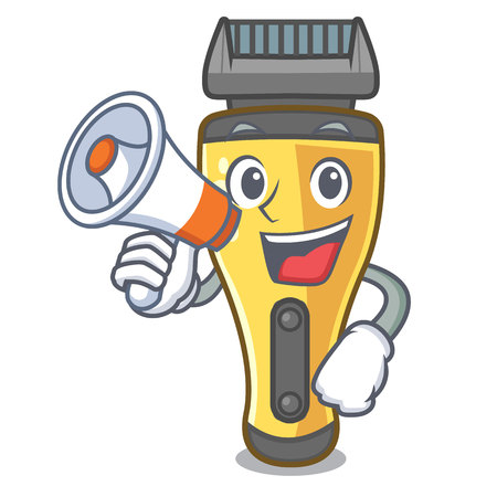 With megaphone electric shaver in the a character vector illustration Illustration