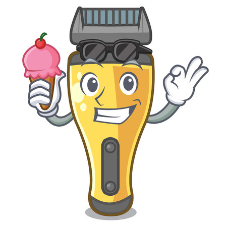 With ice cream electric shaver above in cartoon table vcector illustratin