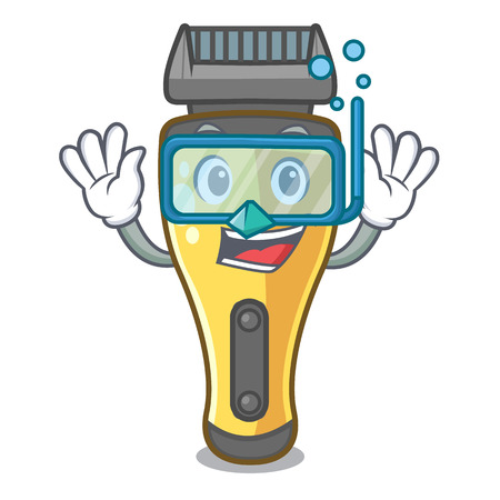 Diving electric shaver above in cartoon table vcector illustratin Illustration
