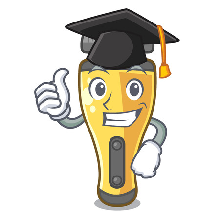 Graduation electric shaver above in cartoon table vcector illustratin Illustration