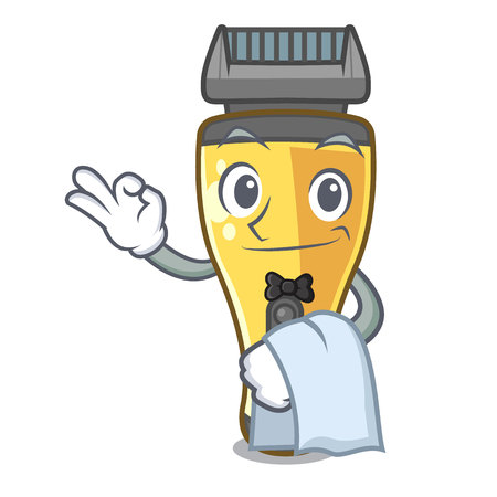 Waiter electric shaver isolated with in mascot vector illustration Illustration
