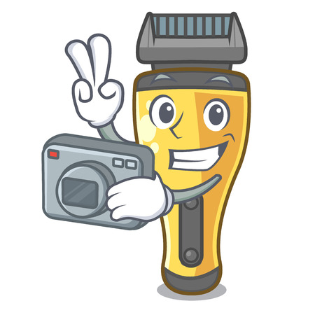 Photographer electric shaver isolated with in mascot vector illustration