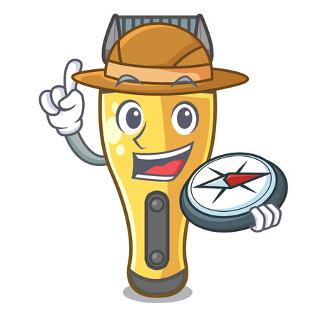 Explorer electric shaver isolated with in mascot vector illustration