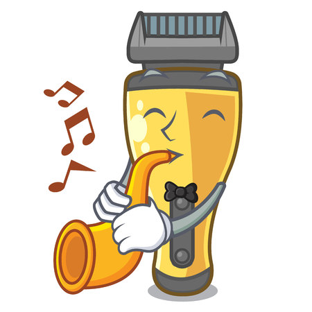 With trumpet electric shaver isolated with in mascot vector illustration Ilustração