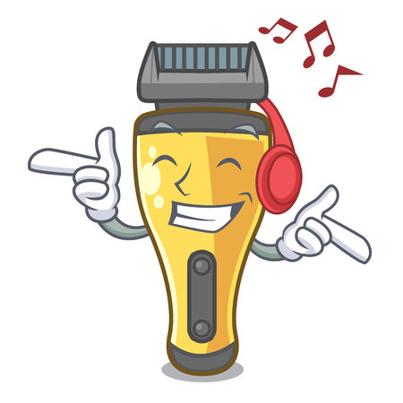 Listening music electric shaver isolated with in mascot vector illustration