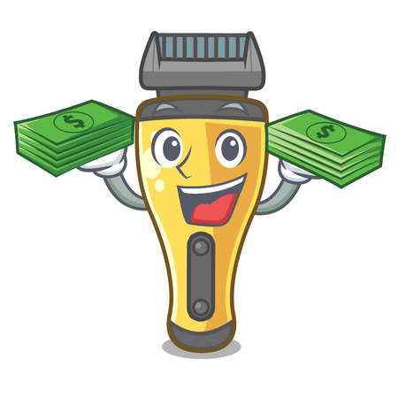 With money bag electric shaver isolated with in mascot vector illustration