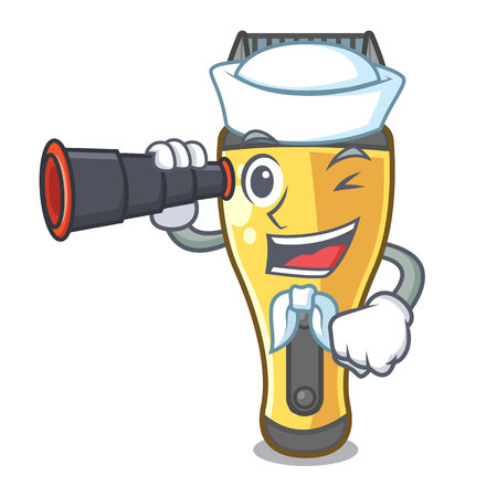 Sailor with binocular electric shaver isolated with in mascot vector illustration  イラスト・ベクター素材