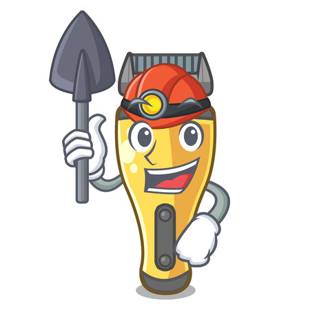 Miner electric shaver isolated with in mascot vector illustration