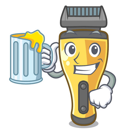 With juice electric shaver isolated with in mascot vector illustration