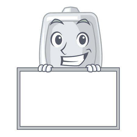 Grinning with board urinal isolated with in the mascot vector illustration