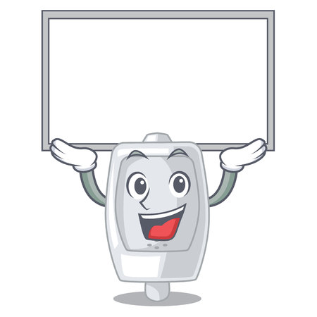 Up board urinal isolated with in the mascot vector illustration