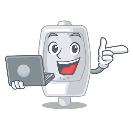 With laptop urinal isolated with in the mascot vector illustration