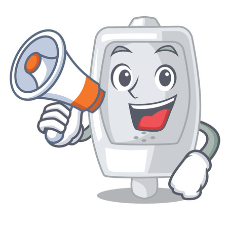With megaphone urinal isolated with in the mascot vector illustration