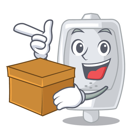With box urinal in the a cartoon shape vector illustration