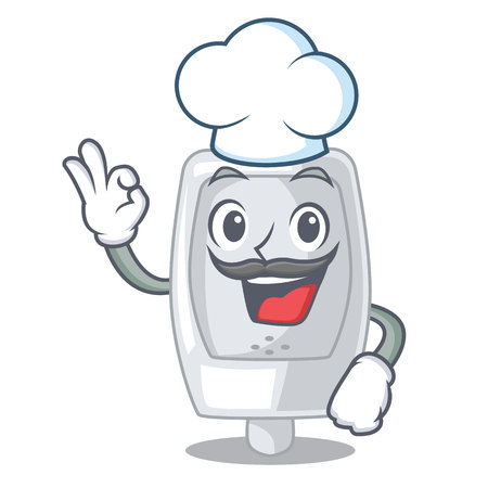 Chef urinal in the a cartoon shape vector illustration