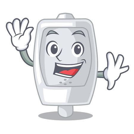Waving urinal in the a cartoon shape vector illustration