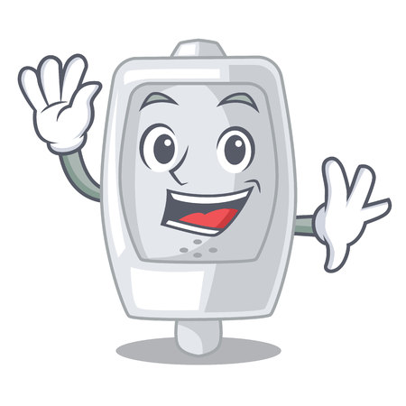 Waving urinal in the a cartoon shape vector illustration