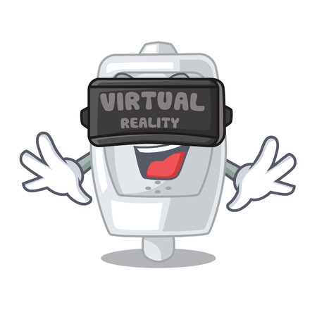 Virtual reality urinal in the a cartoon bathroom vector illustration