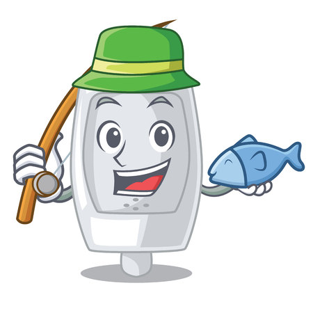 Fishing urinal in the a cartoon bathroom vector illustration