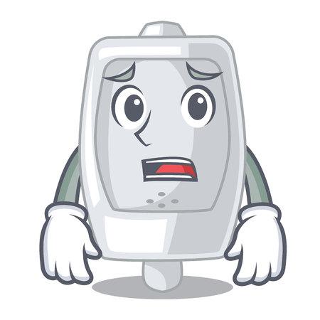 Afraid urinal in the a cartoon bathroom vector illustration