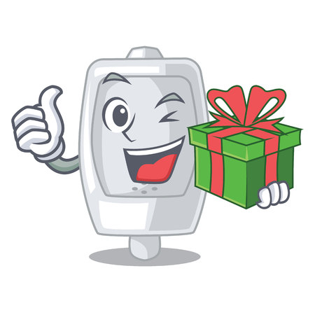 With gift urinal in the a cartoon bathroom vector illustration