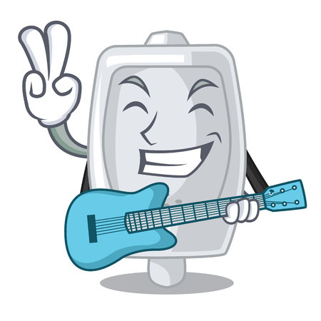 With guitar urinal in the a cartoon bathroom vector illustration