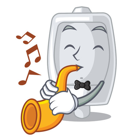 With trumpet urinal in the a cartoon bathroom vector illustration