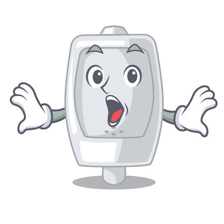 Surprised urinal in the a cartoon bathroom vector illustration