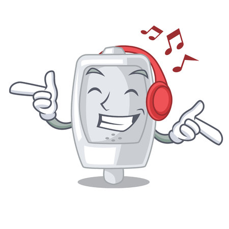 Listening music urinal in the a cartoon bathroom vector illustration Ilustrace