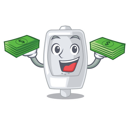 With money bag urinal in the a cartoon bathroom vector illustration